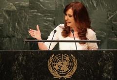 Télam 28/09/2015 New York - La presidenta de Argentina, Cristina Fernández de Kirchner se dirige a la Asamblea General de las Naciones Unidas en la ciudad de Nueva York. Los líderes mundiales reunidos en la 70a sesión de la reunión anual. John Moore / Getty Images / AFP